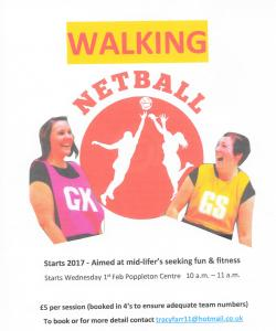 Walking Netball - Cancelled until further notice